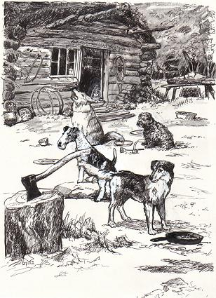 The cabin and the dogs Illustration